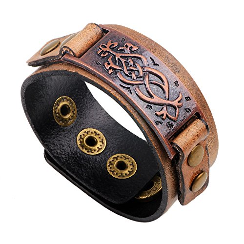 TURTLEDOVE Dara Celtic Knot Bracelet - Viking Bracelet with Vintage Totem - Metal Leather Bracelet Adjustable (Totem Bracelet Bronze)