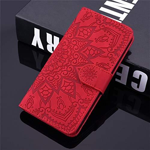 QiuKui Fundas para Xiaomi Redmi 6A 7A 8A K20 K30, Funda de piel con tapa y ranuras para tarjetas, soporte para Redmi Note 4X 5 6 7 8T 9 Pro 9S (color: rojo, material: para Redmi 8A)