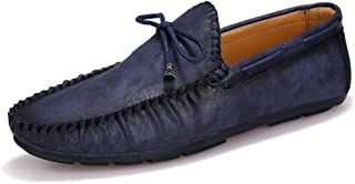 XinQuan Wang Driving Loafer for Men Boat Moccasins Slip On Style PU Leather Classic Solid Color Low Top Classic Bowknot Decor (Color : Blue, Size : 7 UK)