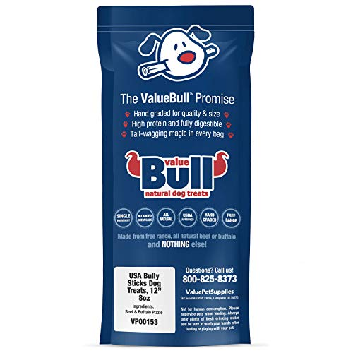 Dog | ValueBull USA Bully Sticks Dog Chews, 12 Inch, 160 Ounce, Gym exercise ab workouts - shap2.com