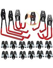 3-H Utility Garage Haken Heavy Duty voor Garage Organisatie, Mop Bezem Houder, Super Sterke Garage Wandhaken, Garage Hangers Tool Hangers voor fietsen, Ladders (rood)