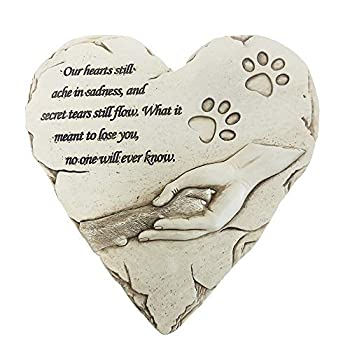 jinhuoba New York Dog Pet Memorial Stones Hand-Painted Heart-Shaped Loss of Pet Dog Memorial Gifts with Sympathy Poem and Paw in Hand Design  White