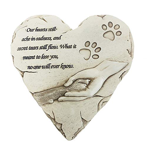jinhuoba New York Dog Pet Memorial Stones, Hand-Painted Heart-Shaped Loss of Pet Dog Memorial Gifts with Sympathy Poem and Paw in Hand Design, (White)