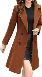Macondoo Women Slim Outwear Double Breasted Trenchcoat Wool-Blend Pea Coat
