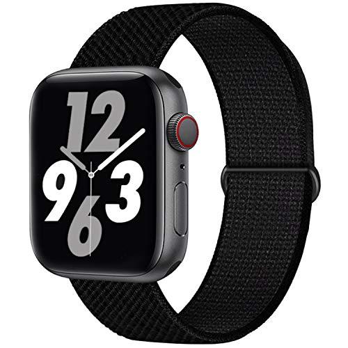 Qunbor Cinturino Compatibile con Apple Watch 38mm 40mm 42mm 44mm per iWatch Series 6 5 4 SE 3 2 1 Edition, Sport Nylon Intrecciato Loop Tessuto Regolabile Ricambio Flessibile Stoffa, Nero assoluto