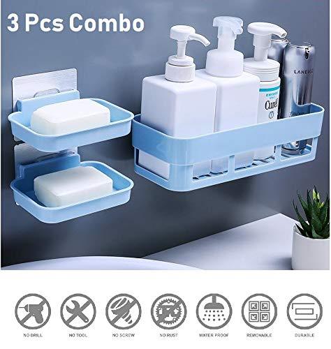 HOME CUBE ABS Plastic Multipurpose Kitchen Bathroom Corner Shelf and 2 Soap Dish (25 x 11 x 7 cm, Random Colour) -3 Pieces Combo