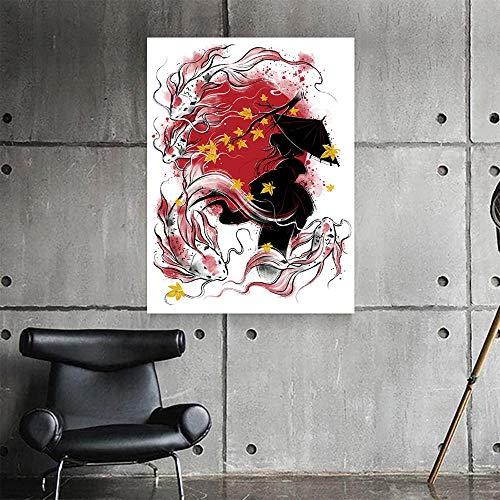 JRLDMD Pintura de Lienzo de niña y pez de Estilo Acuarela, póster con impresión Abstracta Moderna, Arte de Pared, decoración Simple para Sala de Estar, imágenes murales 50x70cmx1 sin Marco