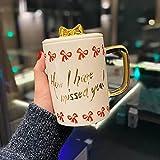 N\C Coppia Tazza Placcato Oro Fiocco Copertura Kawaii Latte Colazione Studente Ufficio Casa Tazza Caffè Cucchiaio Pinkfor Ragazza