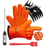 EastKing BBQ Gloves/BBQ Claws/Meat Thermometer and Silicone Brush Superior Value Premium Set (4pcs Set) - Heat Resistant/Non-Slip/Safe/Cooking/Grilling Silicone Gloves for Indoor & Outdoor