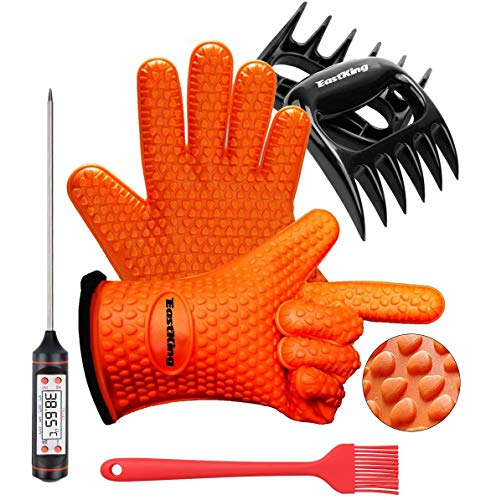 Eastking BBQ Gloves/BBQ Claws/Meat Thermometer and Silicone Brush Superior Value Premium Set (4pcs Set) - Heat Resistant/Non-Slip/Safe/Cooking/Grilling Silicone Gloves for Indoor & Outdoor (Orange)