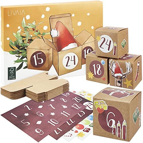 Calendario dell'Avvento da riempire: delizioso calendario dell'Avvento 2021 da riempire con scatoline e adesivi festosi: calendario dell'Avvento 2021 fantastico calendario fai da te da riempire LIVAIA