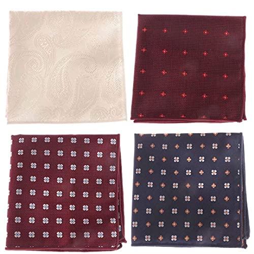 4-delig Pak Heren Zijden Bloemen Gestreepte Pochet Zakdoek Heren Pochetten Zakdoek Diverse Kleuren voor Mannen voor op kantoor, bruiloft, feesten (23x23cm)