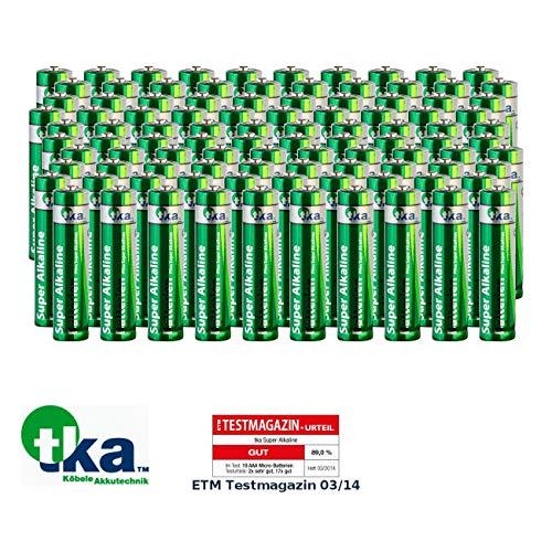 tka Köbele Akkutechnik Batterien Set: Sparpack Alkaline-Batterien Micro 1,5V Typ AAA, 100 Stück (Micro-Batterie-Set)