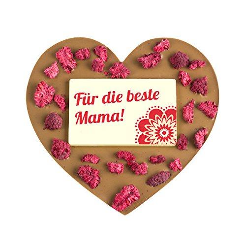 ChocoHerz 'Mama' mit Himbeeren - Herzform | Geschenkidee für Mutter | Geschenke zum Muttertag | Muttertagsgeschenk | Schokolade für Mama | Geburtstag Mutti Geschenke | Mum