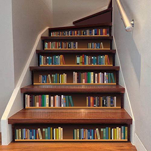 6 Stück 3D Treppenaufkleber - Kreative selbstklebende Treppe Schritt Bodenfliesen Aufkleber Wandtattoo Wallpaper (Style 2)