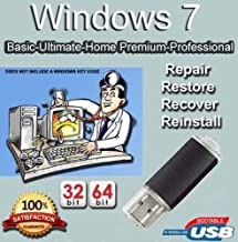 Compatible Install, Recover, Repair and Restore Windows 7 Home Premium, Professional, Ultimate and Basic 32/64 Bit USB Flash Drive. Fix PC, Laptop and Desktop.