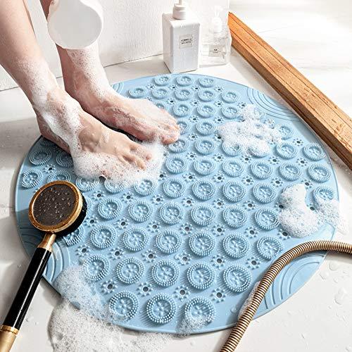 JOLIGAEA 55×55cm Alfombra Antideslizante de Baño, Alfombra para Ducha con Ventosas, Alfombra Antideslizante para Bañera de PVC Robusto y Resistente, Resistentes al Moho, Lavable a Máquina, Azu