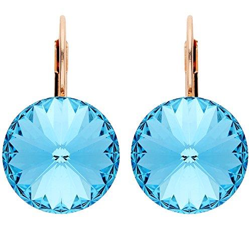 Mya tipo Mujer Pendientes Pendientes de plata con pendientes de aro redondo con Swarovski Elements azules brillantes cristales Rose Oro Chapado en oro azul Rose Gold myarg de oído de 46