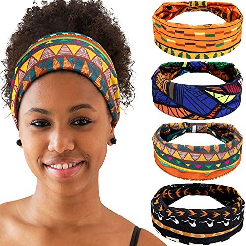 4 Diademas Africanas Banda Ancha Elástica Anudada de Yoga Diademas de Africanos...