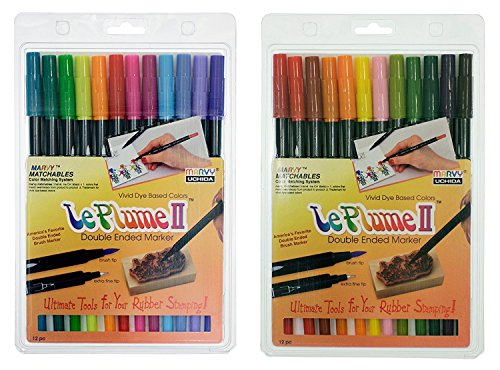 Uchida of America Bundle, Two Sets of 12-1122-12E Le Plume II Bright Pen Set and 1122-12F Le Plume II Garden Pen Set