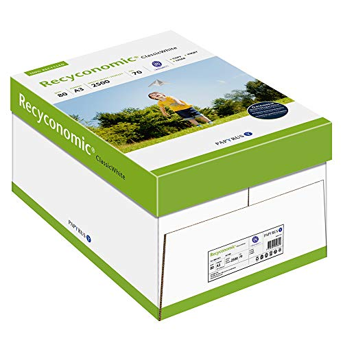 Papyrus 88031813 Recycling-Druckerpapier Recyconomic Classicwhite, 80 g/m², A3, 5x500 Blatt, matt, weiß/CIE-Weiße: 55