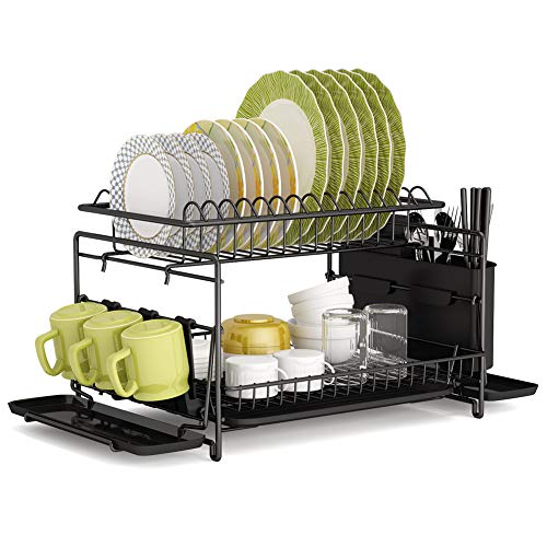 Dish Drying Rack, 1Easylife 2 Tier Large Kitchen Dish Rack with Removable Drainboard, Utensil Holder and Cup Holder, Rustproof Nano Coating Dish Drainer for Kitchen Counter, Dish Dryer Shelf (Black)