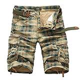 Desconocido Pantalones Cortos para Hombres Monos CóModo Transpirable Multi Bolsillo Retro Plaid Sin CinturóN Cremallera BotóN Cargo Five Pantalones