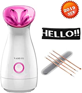 Nano Ionic Warm Mist Facial Steamer(Built-in Ion Lamp),Hot Mist Moisturizing Cleansing Pores Face Steamers Sprayer Face Humidifier Hydration System Home Sauna SPA ,Blackhead Remover Kit Hair Band Free