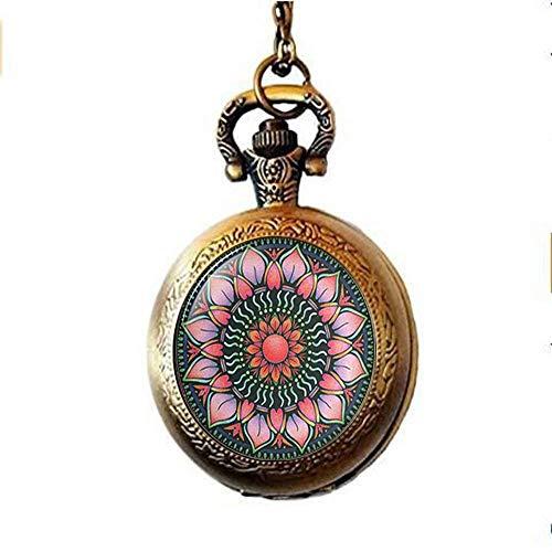 Collar de reloj de bolsillo de Lotus Sri Yantra, Sri YantraJewelry, Lotus Mandala, Loto budista, joyería budista, joyería de geometría sagrada