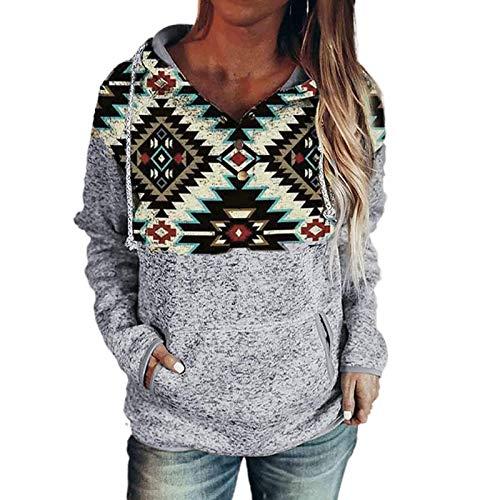 Janly Clearance Sale Blusa de manga larga para mujer, con estampado retro y empalmado de manga larga con capucha para mujer, blusa estampada para Pascua, regalos del Da de San Patricio (vino-3XL)
