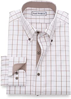 Men's Classic Fit Non-Iron Cotton Pinpoint Windowpane...