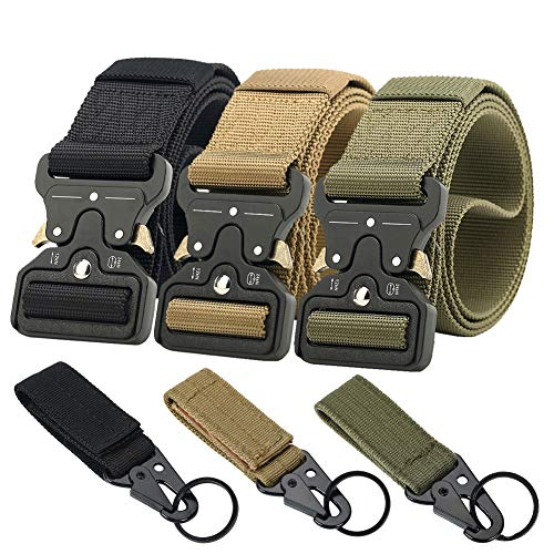 Ginwee 3-Pack Tactical Belt,Military Style Belt, Riggers Belts for Men, Heavy-Duty Quick-Release Metal Buckle with Extra...