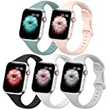 5 PACK Slim Band Compatible with Apple Watch Band 38mm 40mm 42mm 44mm for Women Men, Thin Narrow Soft Silicone Replacement Strap Band for iwatch SE/Series 6/5/4/3/2/1
