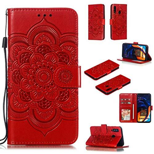 Guran Portefeuille Coque pour Samsung Galaxy A60 Smartphone Magnétique PU Cuir Etui Rabat avec Fente pour Carte et Dragonne Mandala Fleur Motif - Rouge