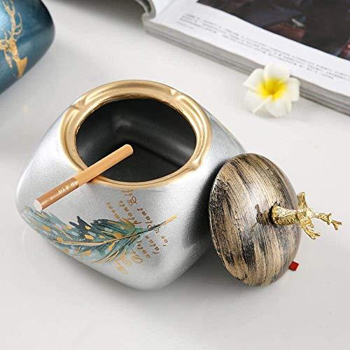 XUSHEN-HU Cenicero para cenicero de interior con tapa, cenicero de cerámica, creativo, sala de estar, cenicero con cubierta antimosca