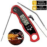Fleischthermometer Digital Bratenthermometer, Grillthermometer mit 2 Edelstahlsonden & Langem Draht, 2s Sofortige Lesungen, Magnet für Küche Grillen BBQ Ofen Steak Smoker Öl