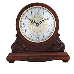 Mantel Clock Mantel Clocks Silent Decorative Fireplace Mantle Clock Battery Operated - Wood Mantel Clock for Home Decor (Color : Red Brown, Size : 285x91x276 mm)