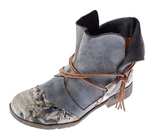 Damen Comfort Leder Stiefeletten TMA 5161 Boots Schwarz-Grau Knöchel Schuhe Gr. 37