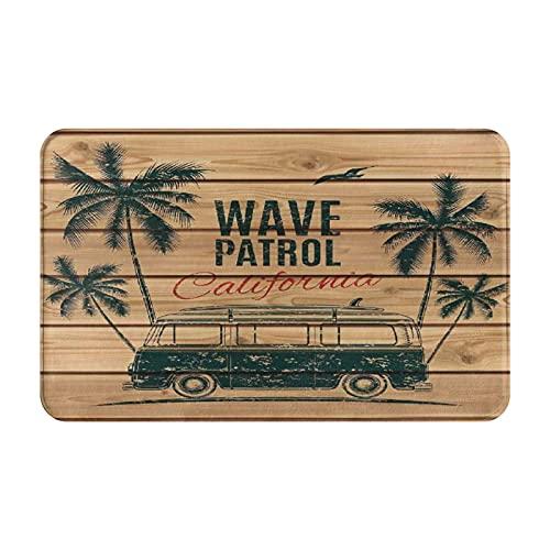 NANITHG Alfombra de Baño Antideslizante,Surf Vintage Minivan con árboles Tropicales sobre tablones de Madera Freedom Fun Wave Tema de Fin de Semana,Tapete del Piso de Microfibra de Lavable