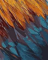 数字でペイントDIYオレンジブルーの羽キャンバスオイルペインティングキット大人用子供初心者40x50cmフレームレス