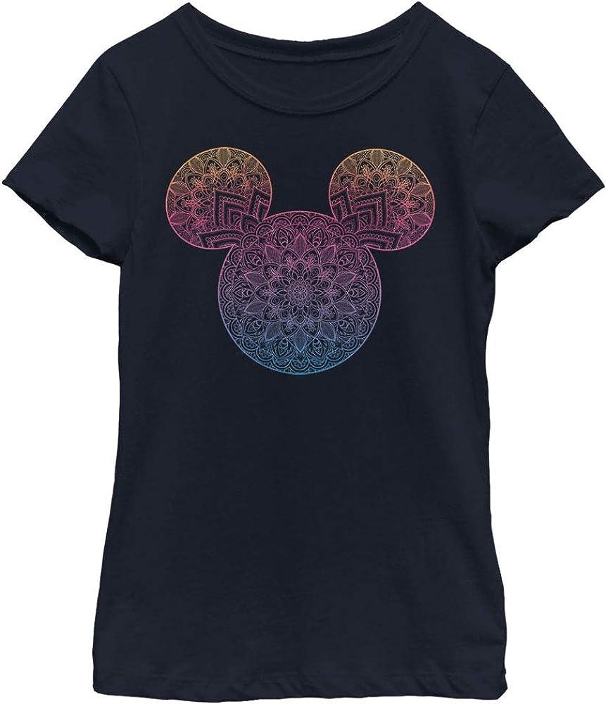 Disney Characters Mickey Mandala Fill Girl's Solid Crew Tee
