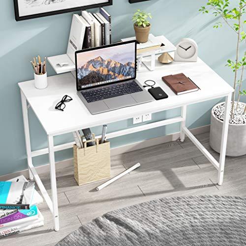 JOISCOPE Computertisch,Laptop-Schreibtisch mit Ablagefach,Holz und Metall,Arbeitstisch für das Heimbüro,120 x 60 cm(Weißes Finish)