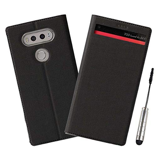 Ycloud Geschäft PU Leder Tasche für LG V20 Wallet Flipcase mit Standfunktion Kartenfächer Entwurf Schwarz Leinen Stil Hülle