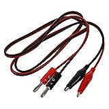 SODIAL(R) SODIAL(R) 2 Pcs Rouge Noir Banana Fiches a pince crocodile Sonde cable de test 1M