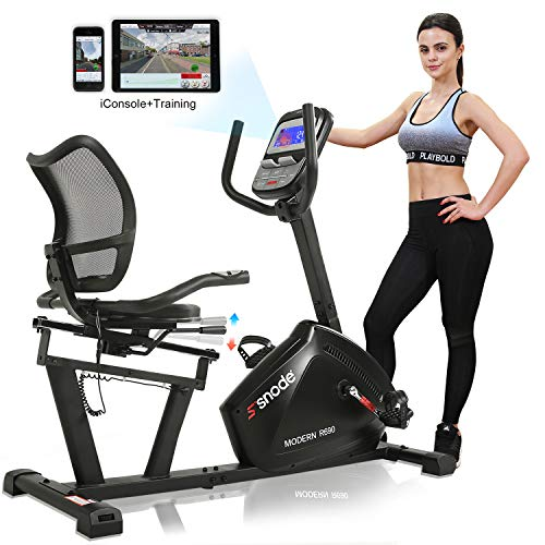 SNODE Magnetic Recumbent Exercise Bike, Indoor Home Training Machine with 16 Levels Resistance(2019 New Model: R690i) Bikes Exercise