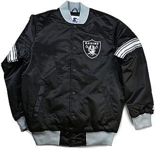 STARTER Oakland Raiders The Draft Pick Full Snap Satin Jacket -Black/Silver (Large)