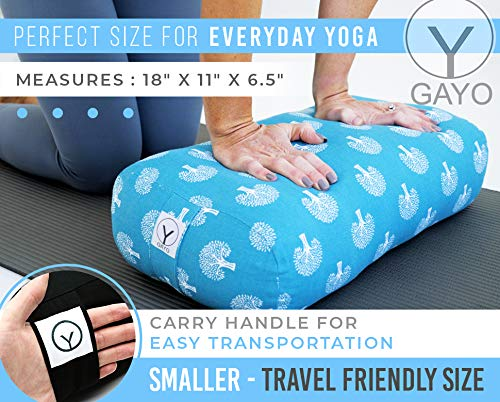 Gayo 100% Cotton Rectangle Yoga Bolster Pillow Set with Extra Cover and Carry Bag - Medium Travel Size Yoga Bolsters and Cushions - Supportive Yoga Accessories - Washable Cover- Black