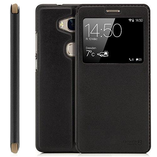 Zanasta Designs Custodia Compatibile con Huawei Honor 5X (KIW-L21) Cover Flip Wallet Case Copertura con Finestra Vista, Protezione della Fotocamera | Nero