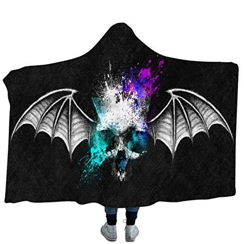 Halloween Serie Skull Print Holiday Cloak Manta con Capucha,Edredones De Oficina Sofá Ropa De Cama Abrigo...