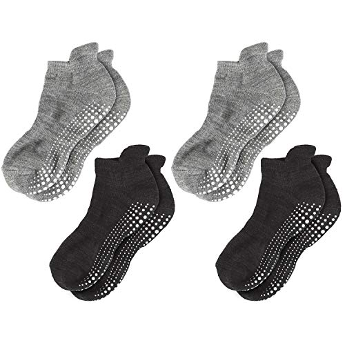 LA Active Grip Socks - 4 Pairs - Yoga Pilates Barre Ballet Non Slip Covered (Slate Grey x 2 and Stellar Black x 2, Medium)